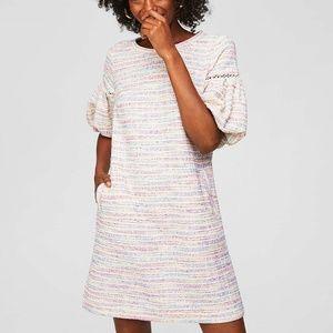 LOFT NEW Spring Fling Dress Boucle Sleeve S Small